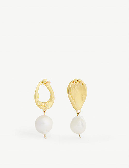 ALIGHIERI Infernal Storm gold-plated pearl earrings