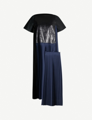 OMER ASIM Contrast-panel pleated satin and linen midi dress