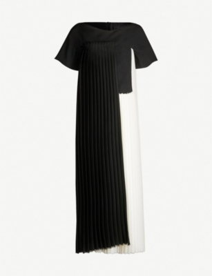 OMER ASIM Contrast-panel pleated silk and woven midi dress
