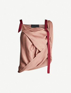 OMER ASIM Draped silk strap top