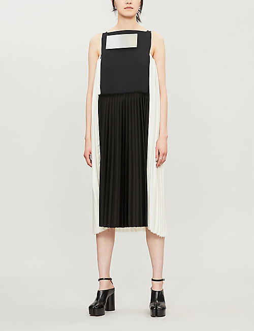 OMER ASIM Contrast-panel sleeveless woven and silk dress