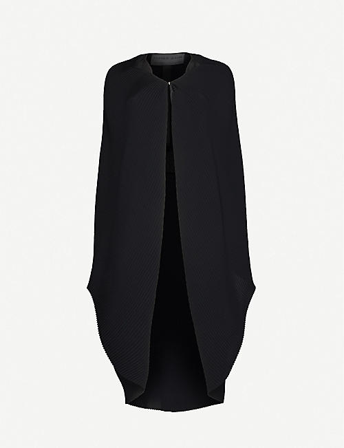 OMER ASIM: Pleated crepe and silk cape