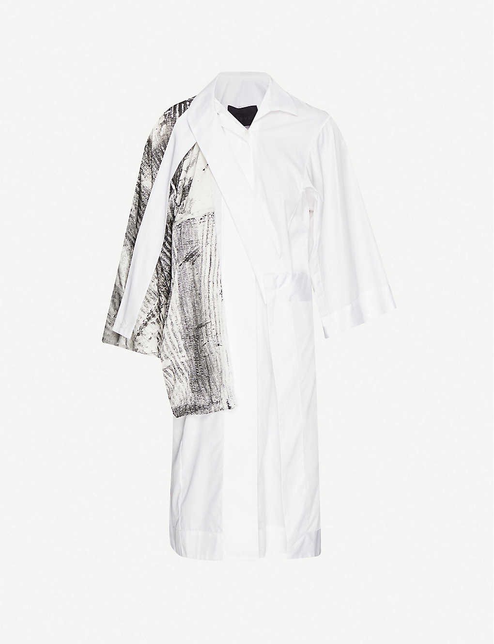 OMER ASIM: Half Mast contrast-panel cotton and silk shirt dress