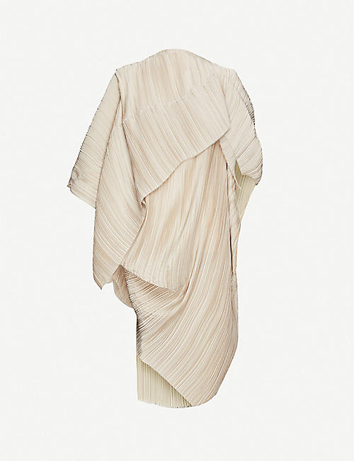 OMER ASIM: Haraza asymmetric pleated stretch-jersey dress