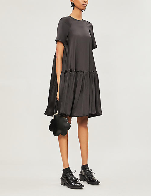 CECILIE BAHNSEN Annabella flared silk-satin dress