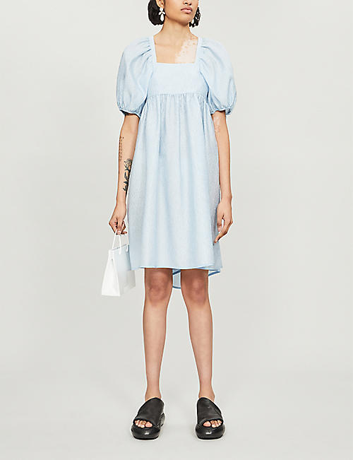 CECILIE BAHNSEN Puffed-sleeve crepe dress
