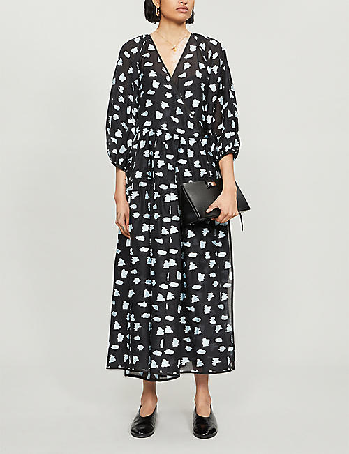 CECILIE BAHNSEN Abstract-print crepe dress