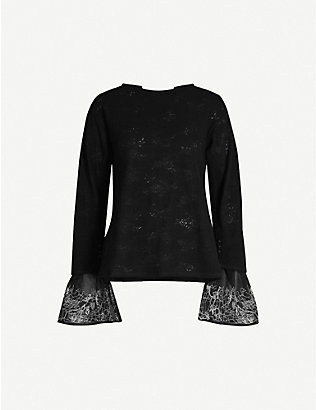 RENLI SU: Contrast-embroidered relaxed-fit wool-blend jumper