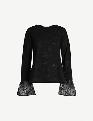RENLI SU Contrast-embroidered relaxed-fit wool-blend jumper