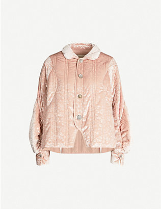 RENLI SU: Puffed-sleeve floral-pattern velour-jacquard jacket