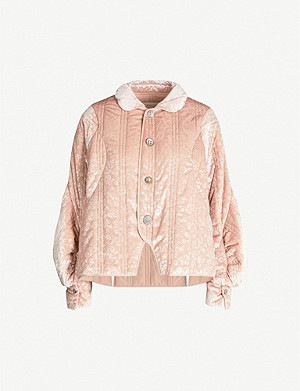 RENLI SU Puffed-sleeve floral-pattern velour-jacquard jacket