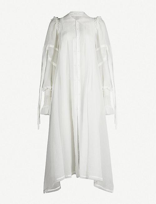 18cae7353ee899 RENLI SU Puffed-sleeve embossed floral silk-blend coat