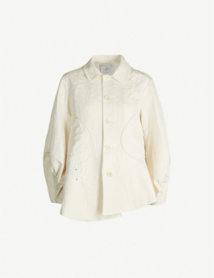 RENLI SU Asymmetric lace-up cotton and linen-blend jacket