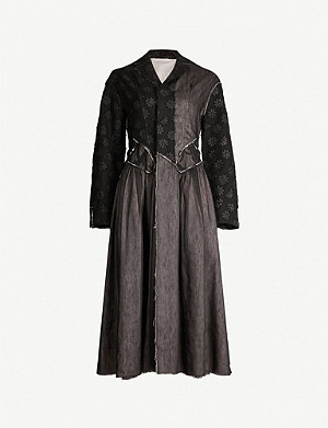 RENLI SU Floral-panel wool, linen and silk-blend coat