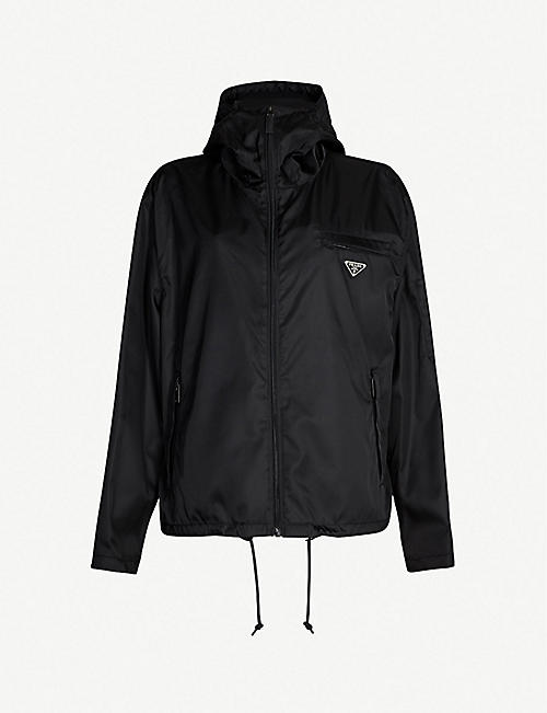 PRADA Logo-patch shell hooded jacket