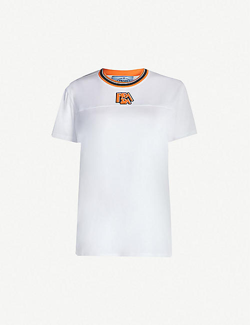 PRADA Logo-patch cotton-jersey T-shirt