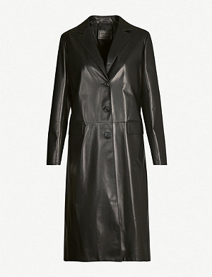PRADA Single-breasted leather coat