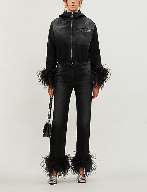 PRADA Feather-trimmed cropped denim jacket