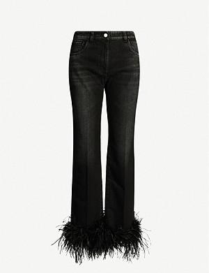 PRADA Feather-trimmed straight high-rise jeans
