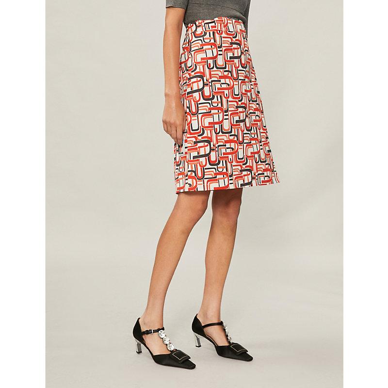 Retro Print Wrap Skirt In Orange, Arancio
