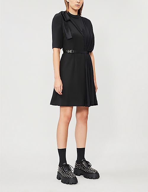 PRADA Gathered-panel belted satin mini dress