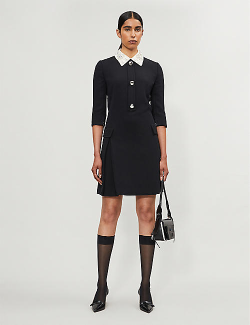 PRADA Crystal-embellished wool knee-length dress