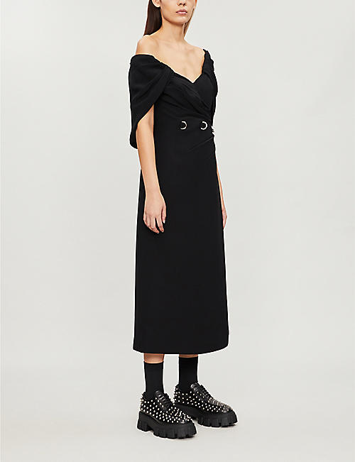 PRADA Off-the-shoulder crepe midi dress