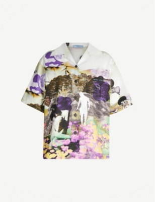 PRADA Collage-print cotton shirt
