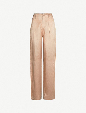 PHAEDO Straight linen and silk-blend trousers