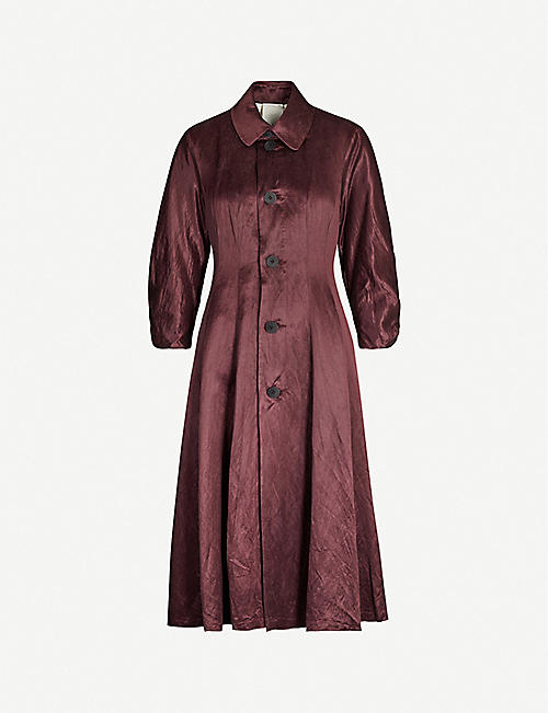 PHAEDO Button-up linen and silk-blend coat