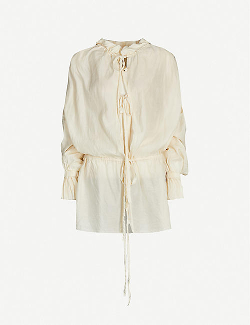 PHAEDO Drawstring-neckline silk-cotton blend shirt