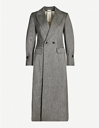 PHAEDO: Double-breasted classic-fit wool-silk blend coat
