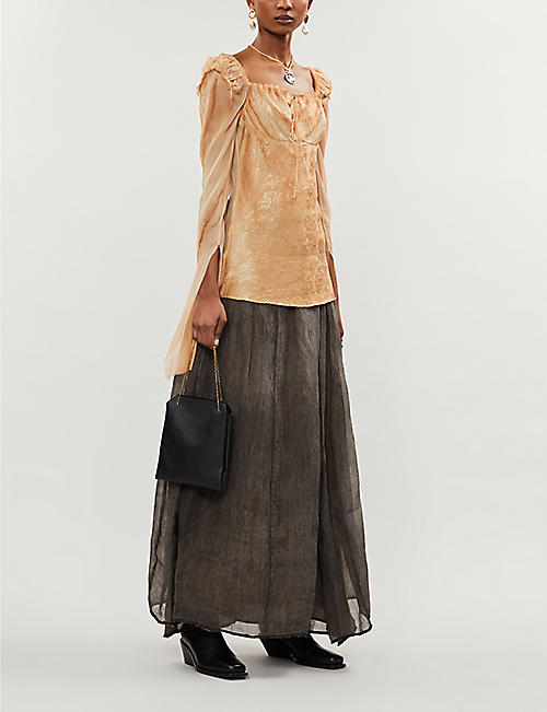 PHAEDO Ruched distressed silk top