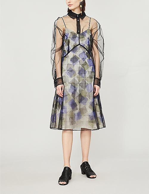 QUETSCHE Geometric-pattern tulle and stretch-silk dress