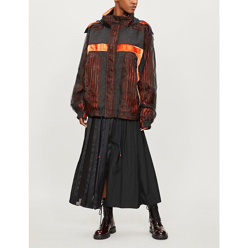 QUETSCHE Contrast-Panel Velvet Parka Jacket in Dark Orange
