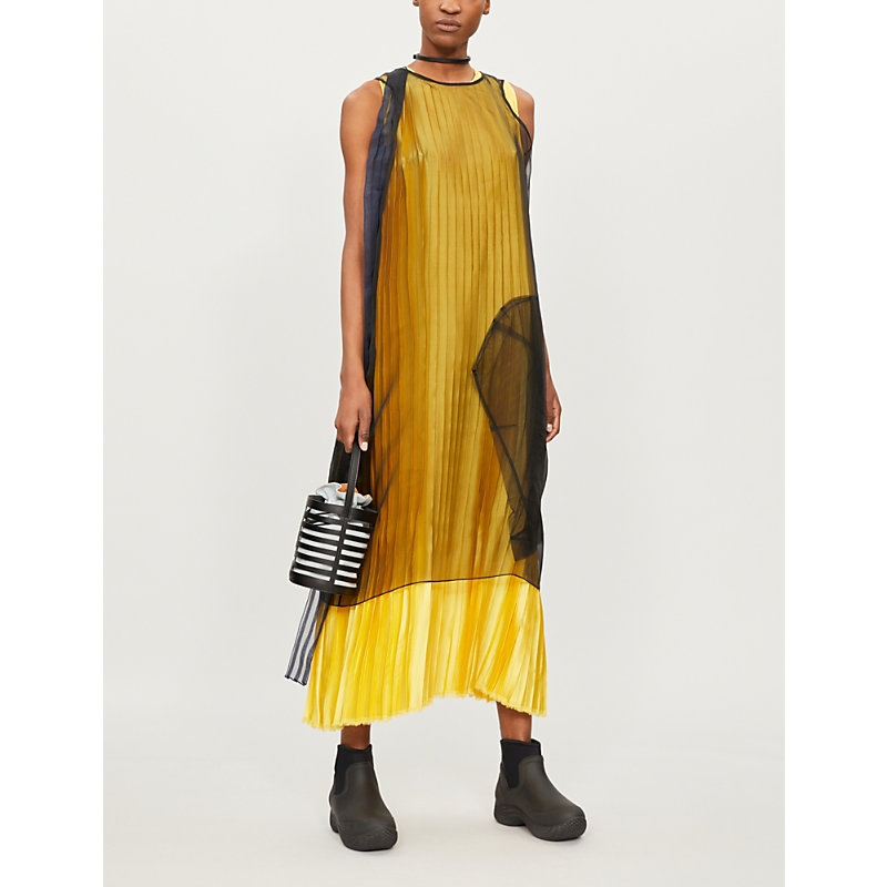 QUETSCHE Pleated Satin And Silk-Organza Dress in Yellow