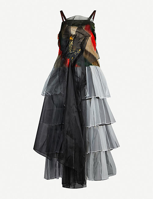 QUETSCHE Deconstructed layered tulle mid dress