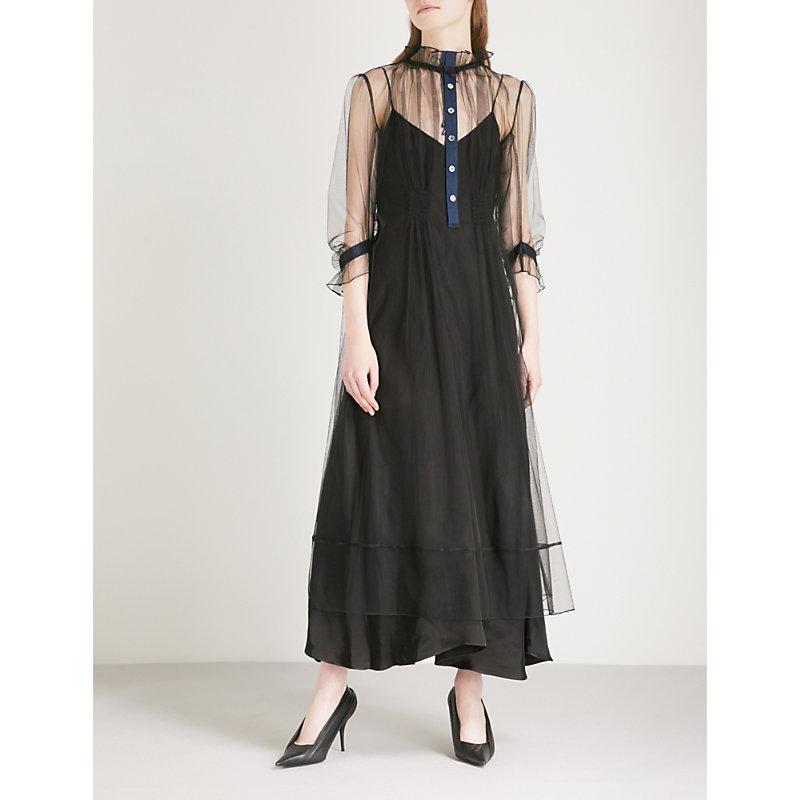 QUETSCHE Night Tulle Midi Dress in Black