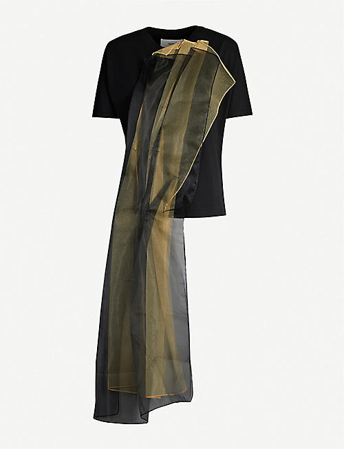 QUETSCHE Draped stretch-jersey and mesh T-shirt