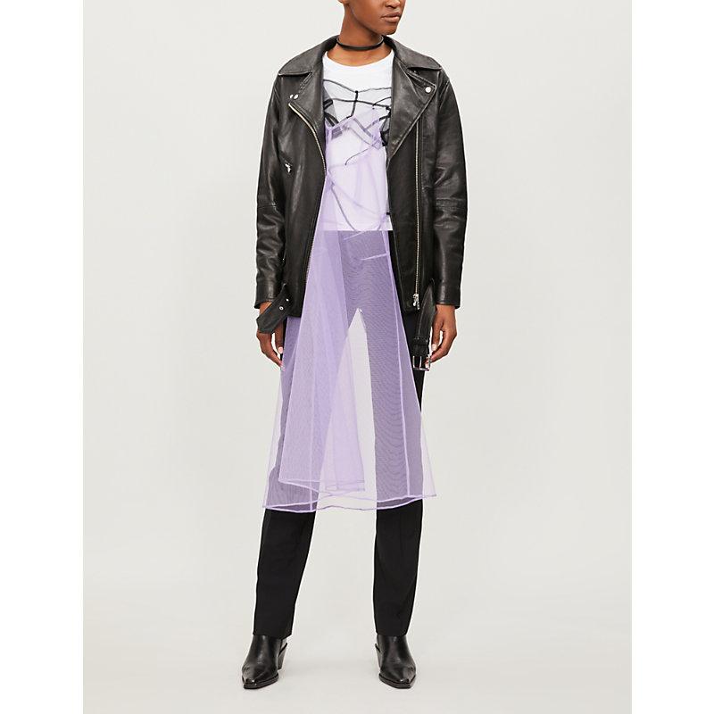 QUETSCHE Hidden Dress Cotton-Jersey And Tulle T-Shirt in Purple