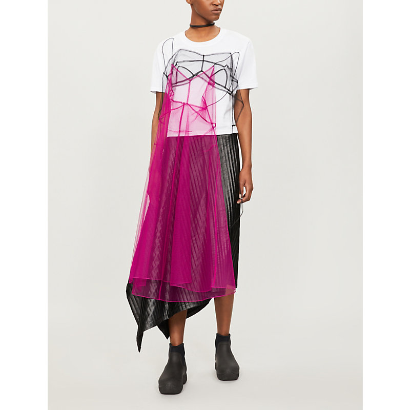 QUETSCHE Hidden Dress Cotton-Jersey And Tulle T-Shirt in Magenta