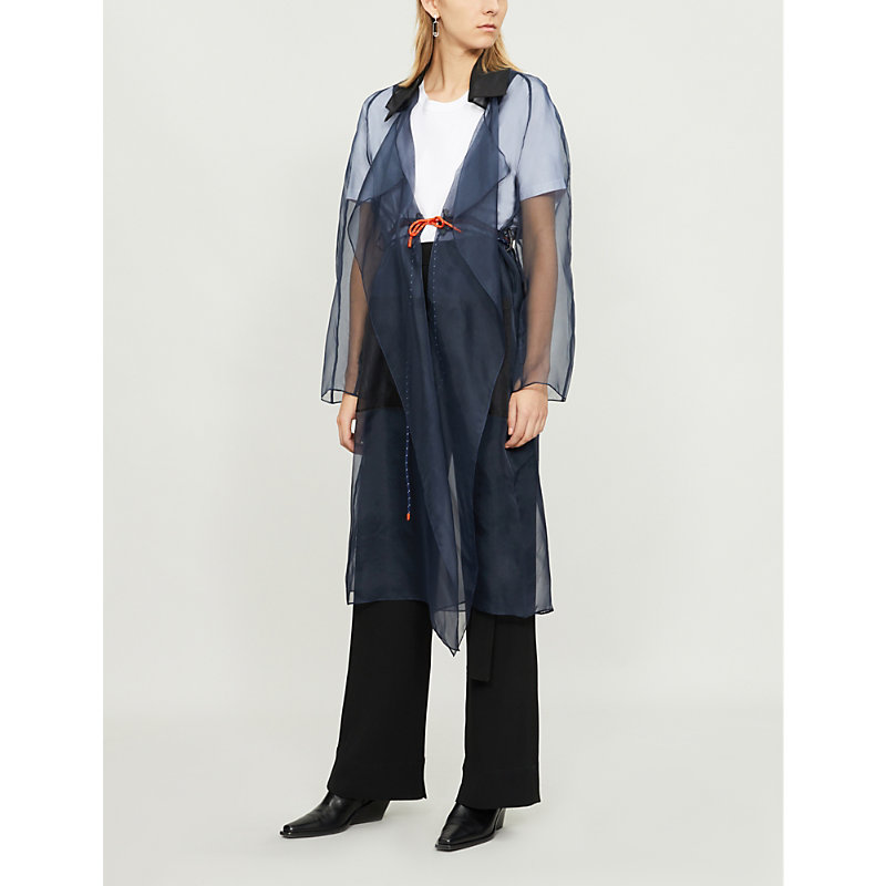 QUETSCHE Ladies Blue Trench Coat-Panel Silk-Organza And Cotton-Jersey Top