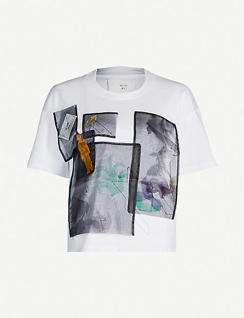 QUETSCHE Sheer overlay cotton-jersey T-shirt
