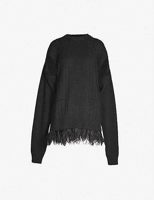 16f4dbb71929 MAISON MARGIELA Feather-trim wool and cotton-blend jumper