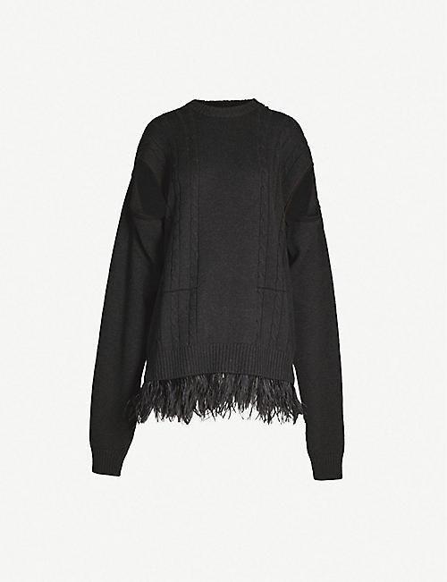 9cda89074a0 MAISON MARGIELA Feather-trim wool and cotton-blend jumper