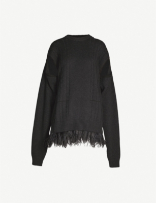 MAISON MARGIELA Feather-trim wool and cotton-blend jumper
