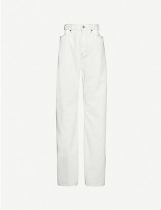 MAISON MARGIELA: Deconstructed high-rise wide-leg denim jeans