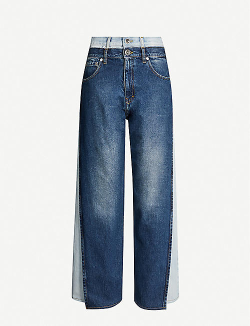 MAISON MARGIELA Two-tone high-rise wide-leg jeans