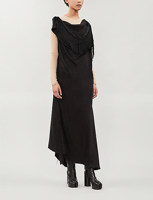 AGANOVICH Fringe-trimmed satin dress