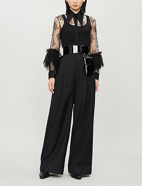 NABIL NAYAL Therese ruffled silk lace shirt